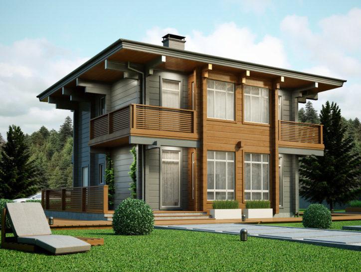 Проект дома из клееного бруса с односкатной крышей