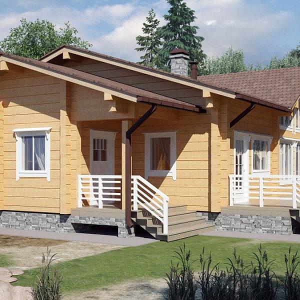 Проект одноэтажного дома из клееного бруса